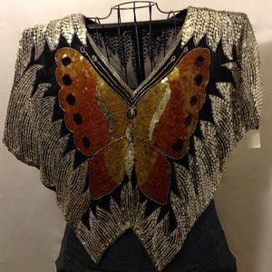 Vintage Butterfly Sequin Blouse Costume Party Top